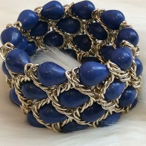 Jewelry - Blue Stone and Gold Chain Stretch Bracelet NWOT